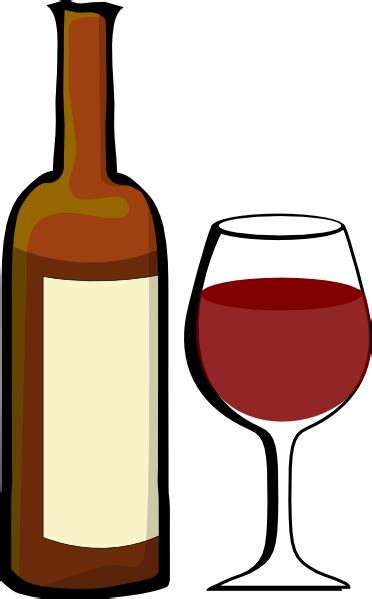 cartoon wine glass of wine with wine bottle clip art at clker com