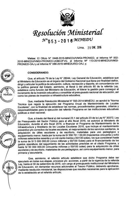Norma Tcnica Para Mantenimiento De Locales Escolares 2016 | rm 053 2016 minedu aprueba norma t 233 cnica denominada
