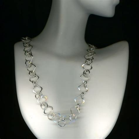 Handmade Sterling Silver Jewelry Designs - chain link necklace silver chainmaille circles squares
