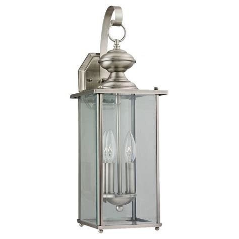 Brushed Nickel Outdoor Light Fixtures Sea Gull Lighting Jamestowne 2 Light Antique Brushed Nickel Outdoor Wall Fixture 8468 965 The