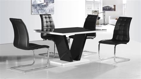 Modern Black Glass High Gloss Dining Table And 4 Chairs Ebay Black Dining Table And 4 Chairs