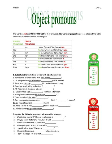 Subject And Object Pronouns Worksheets by Subject And Object Pronouns Exercises For Grade 4