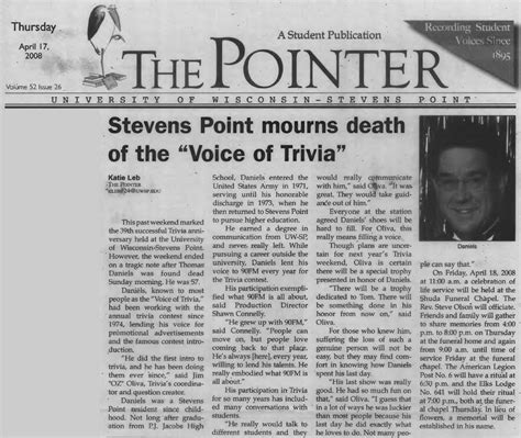 obituary section trivia articles