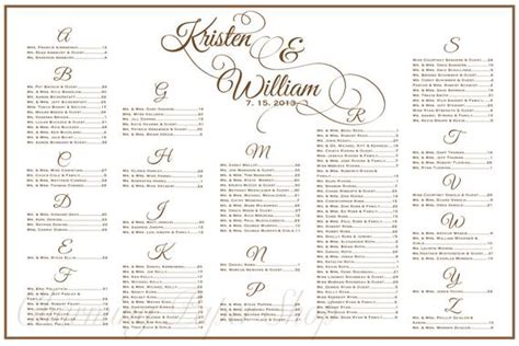 Wedding Seating Chart Table Seating Assignments Reception Table List Wedding Template