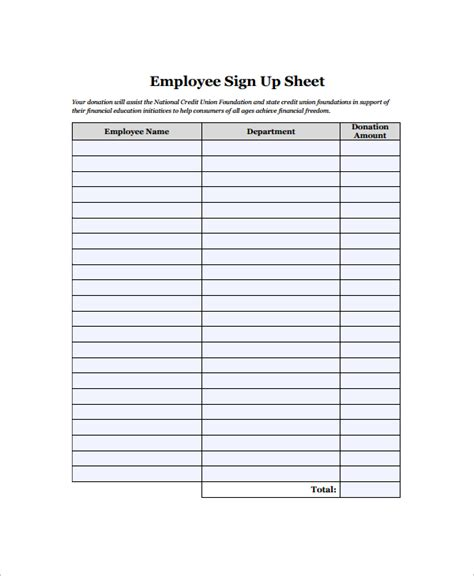 16 Employee Sign In Sheets Sle Templates Employee Sign In Sheet Template
