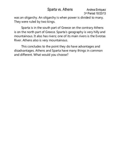 Sparta Essay by Sparta V S Athens Essay