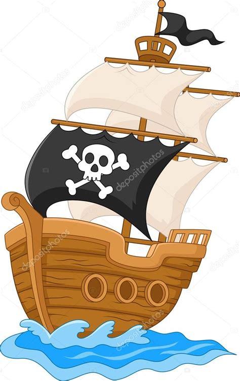 barco pirata dibujo dibujo animado del barco pirata vector de stock
