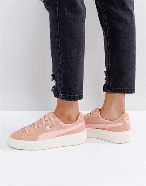 Mixing Gold And Silver puma puma suede platform trainer in pink