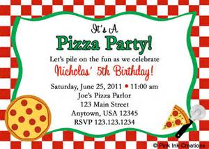 items similar to pizza party birthday invitations