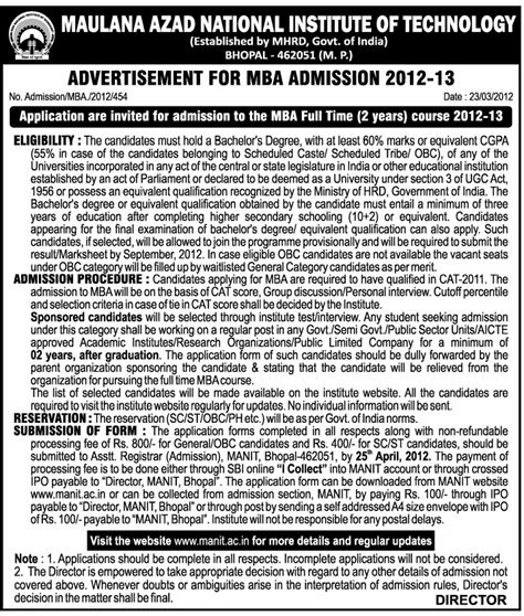Mnit Mba Admission 2017 Bhopal by Mba Admissions Maulana Azad National Institute Of