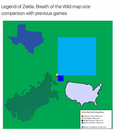 Legend Of Zelda Map Size | legend of zelda breath of the wild map size comparison