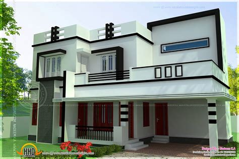 L Shaped House With Porch by Flat Roof 4 Bedroom Modern House Kerala Home Design And