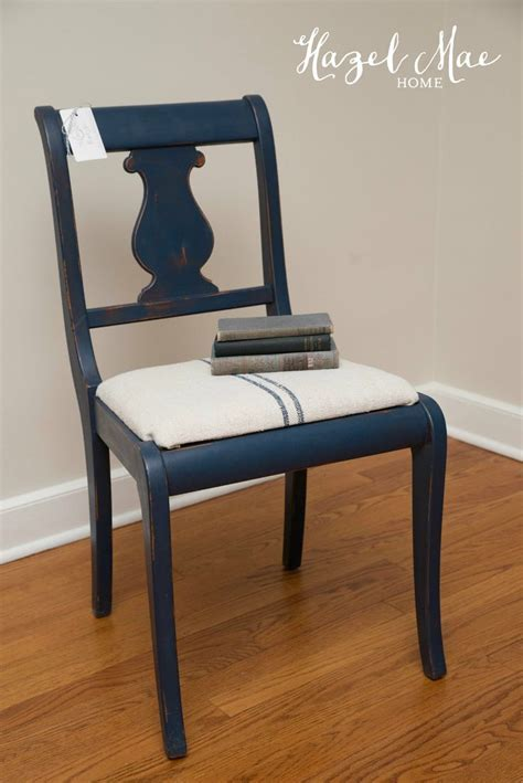 Custom Navy Chair using Annie Sloan Napoleonic Blue and