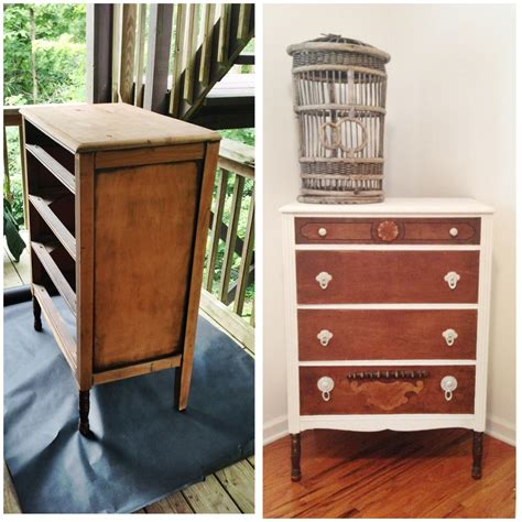 painted dresser before and after going home to roost