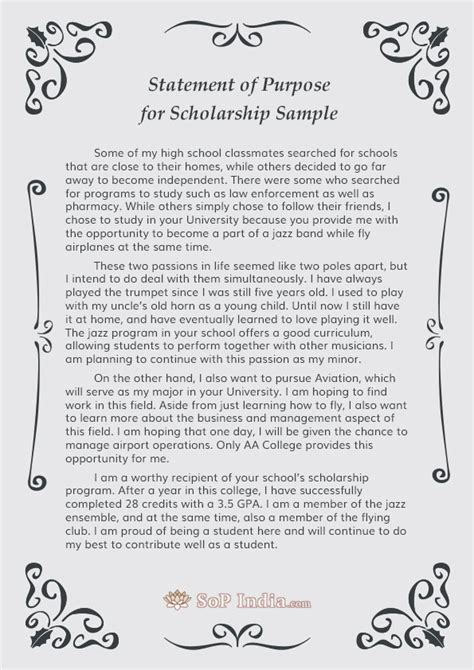 Scholarship Statement Of Intent Statement Of Purpose For Scholarship Writing Sop India