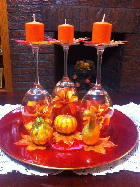 fall wine glass centerpiece mis creaciones
