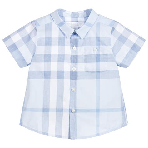 Pw Baby Boy Burberry Burberry Baby Boys Blue Checked Shirt Childrensalon