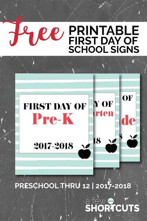 Free Printable Day Of School Signs 2018