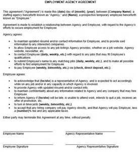 recruiting contract template employment agency agreement sle