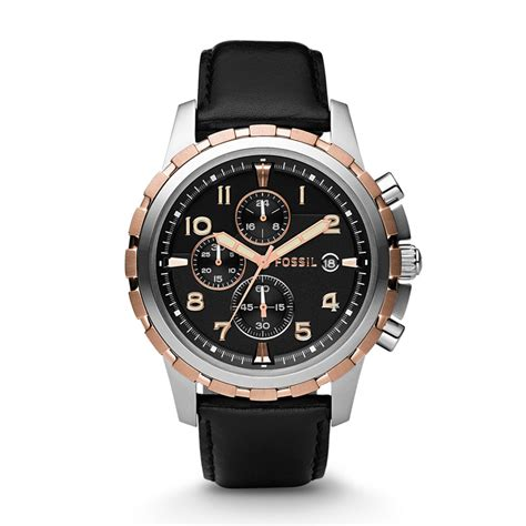 Fossil Fs4545 For fossil dean chronograph black leather fs4545 fossil 174