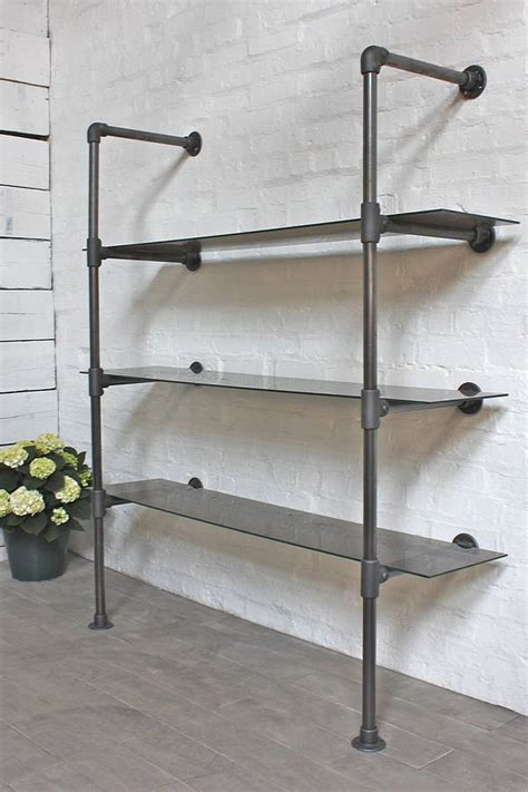 bronze glass and steel pipe bookcase glass shelves