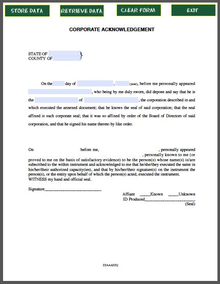 Llc Distribution Receipt Template by Corporate Acknowledgement Affidavit Free Fillable Pdf