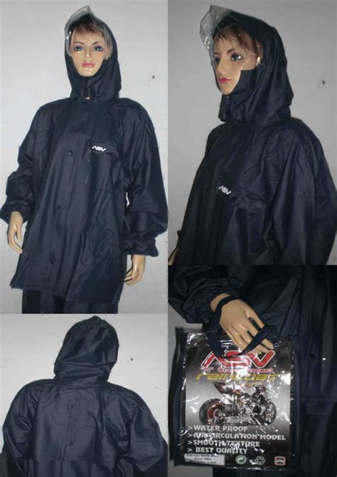 jual beli hs jas hujan merk asv khusus size l hitam