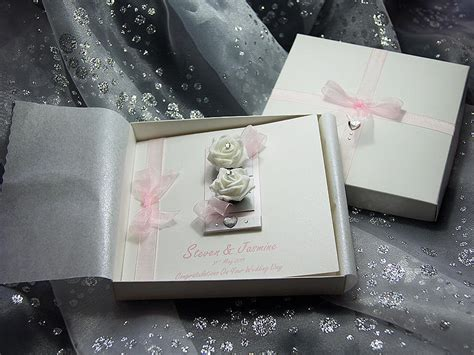 Handmade Luxury Cards - hloe pink handmade luxury wedding card mixed media by