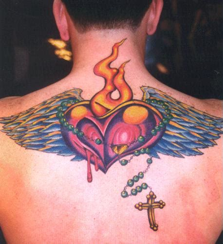 heart and cross tattoo meaning wing tattoos across the shoulders and back 171