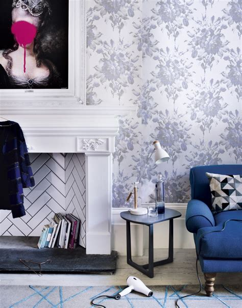 Floral Blue And White Living Room Living Room Decorating by Transform Your Living Room With Statement Wallpaper The