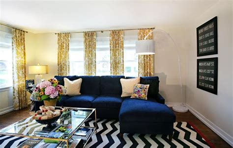 navy couch decorating ideas navy blue sofa with yellow curtain i love colors decor