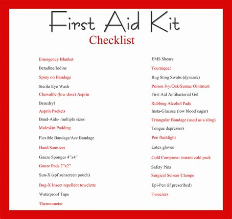 First Aid Kit And Printable Checklist Kleinworth Co Aid Kit Checklist Template