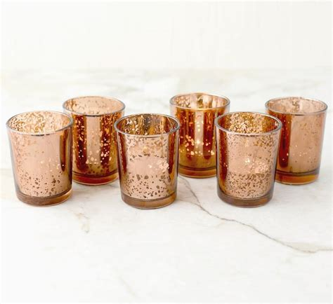 Coloured Glass Vase Set Of 12 Copper Rose Gold Mercury Glass Candle Votive