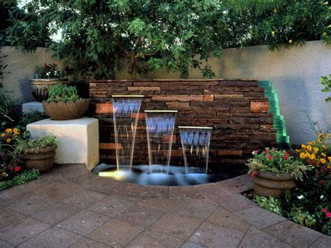 Backyard Feature Wall Ideas by Patio Pavers And Small Pond With Outdoor Wall
