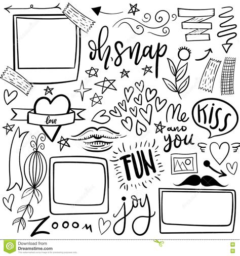 doodle sign up for event set of and girly jand vector doodle stickers