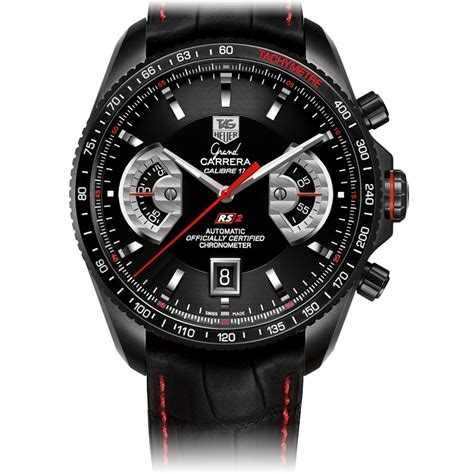 GRAND CARRERA Calibre 17 RS2Automatic Chronograph43 mm Black Leather bracelet   TAG Heuer