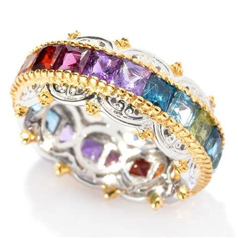 gems en vogue 3 43ctw princess cut multi gemstone eternity