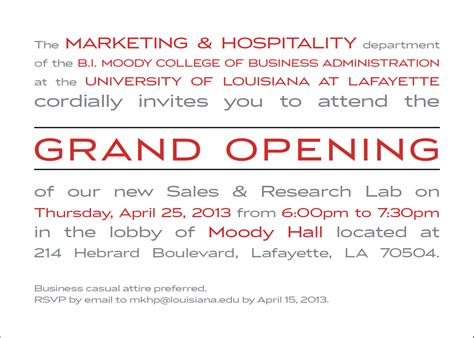 Ull Graduate School Mba by Grand Opening Of The Of Louisiana At Lafayette