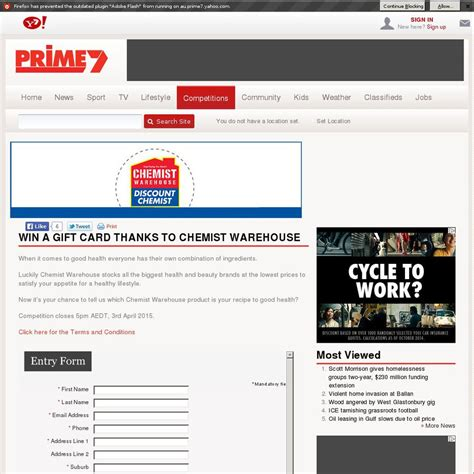 Chemist Warehouse Gift Card - win a 2 000 or 1 of 10 200 chemist warehouse gift cards from prime7 ozbargain
