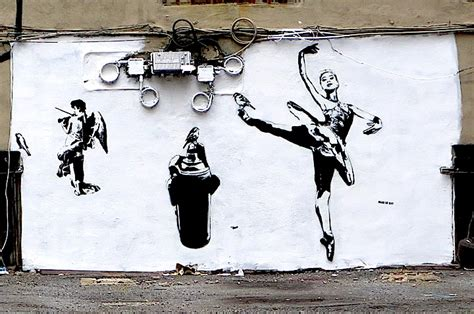Banksy Wall Mural french stencil art pioneer blek le rat at the quin and on