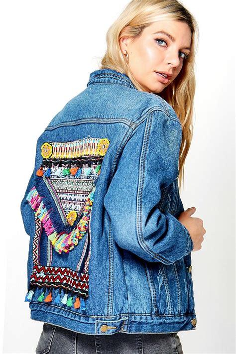 Embroidered Back Jacket embroidered statement back denim jacket at boohoo