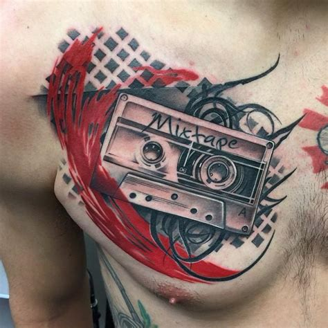 cassette tape tattoo school cassette chest by david mushaney