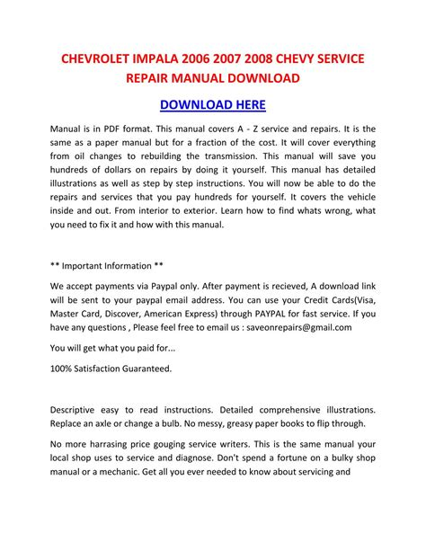 factory service manual chevrolet impala 2006 2007 2008 2009 2010 chevrolet impala 2006 2007 2008 chevy service repair manual download by nikolairacioppiytk issuu