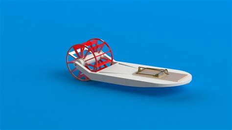 mousetrap powered boat mousetrap paddle boat stl solidworks 3d cad model