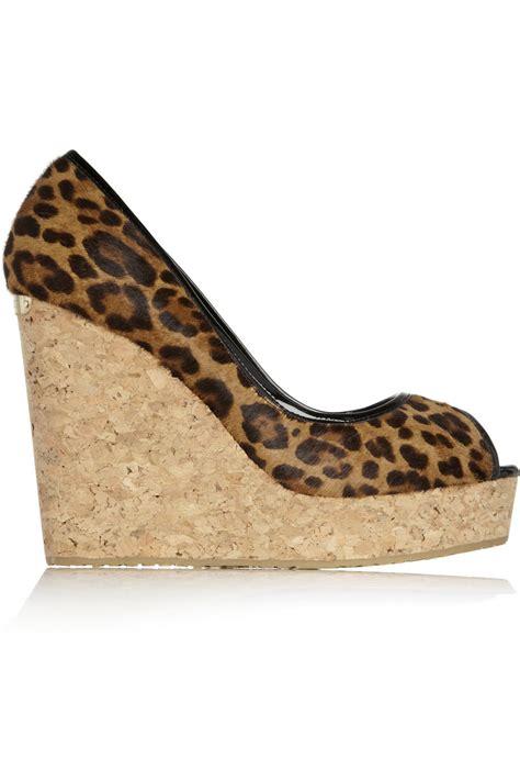 jimmy choo papina leopard print calf hair wedge sandals in