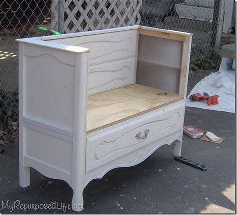 this old house entry bench make an old dresser into a an elegant entry bench
