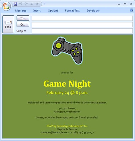 Download Free Printable Invitations Of E Mail Message Video Game Night Invitation Gaming Invitation Template