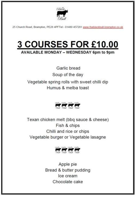 3 course dinner menu 3 courses for 163 10 00
