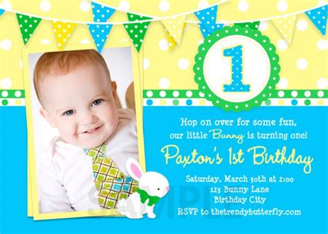 invitation card for 1st birthday boy festival tech com