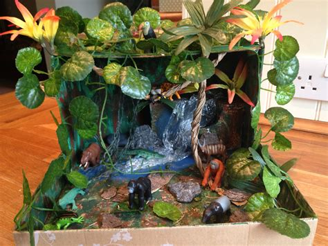How To Make Rainforest Animals Out Of Paper - our rainforest in a shoe box school projects